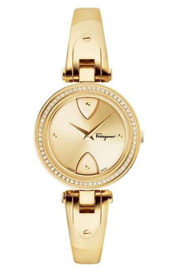 Women's Salvatore Ferragamo Giglio Diamond Bangle Watch, 32Mm