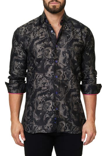 Men's Maceoo Luxor Animal Head Trim Fit Sport Shirt