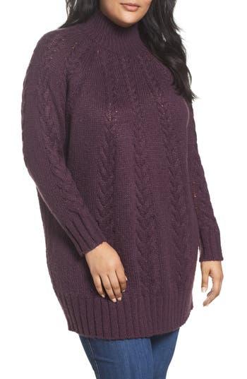 Plus Size Women's Caslon Cable Knit Tunic Sweater, Size 1X - Purple