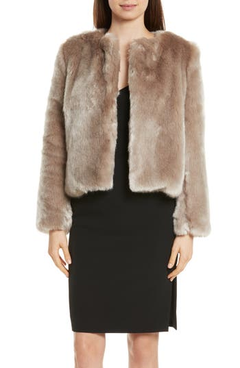 Women's Milly Faux Fur Jacket, Size Petite - Grey