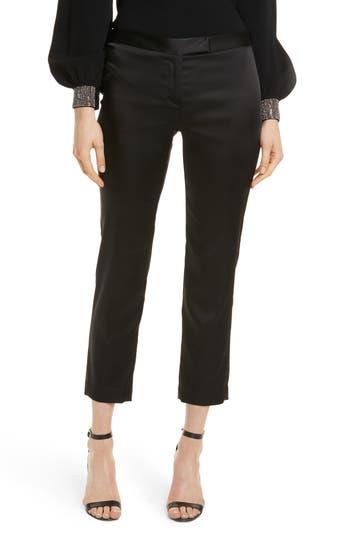 Women's Milly Stretch Satin Crop Cigarette Pants, Size 0 - Black
