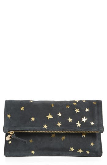 Clare V. Margot Star Print Foldover Suede Clutch - Grey