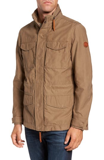 Men's Timberland Mt. Davis M65 Waxed Canvas Jacket, Size Large - Brown
