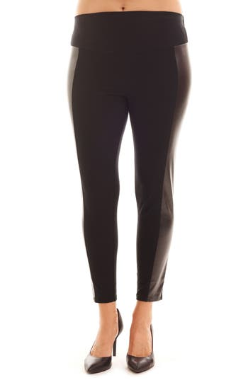 Everly Grey Ella Faux Leather & Knit Maternity Leggings, Black