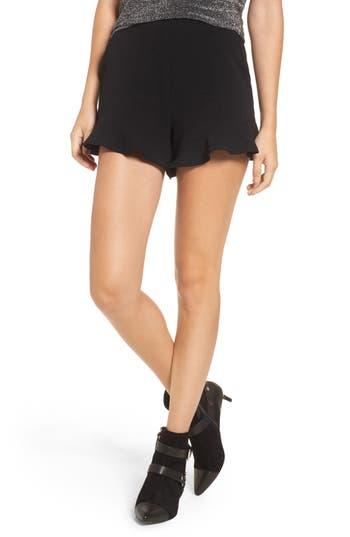 Women's Ruffle Hem Shorts, Size X-Small - Black
