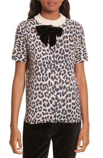Women's Kate Spade New York Velvet Bow Leopard Print Sweater