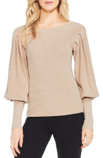Women's Vince Camuto Bubble Sleeve Sweater, Size Large - Brown