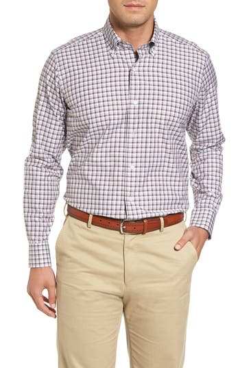 Men's Peter Millar Northern Lights Regular Fit Check Sport Shirt, Size Small - Brown