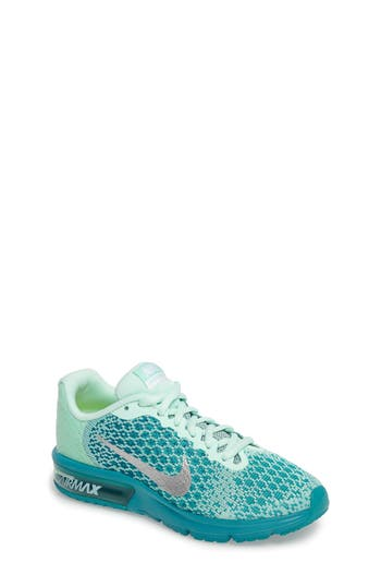 Girl's Nike Air Max Sequent 2 Sneaker, Size 3.5 M - Blue/green