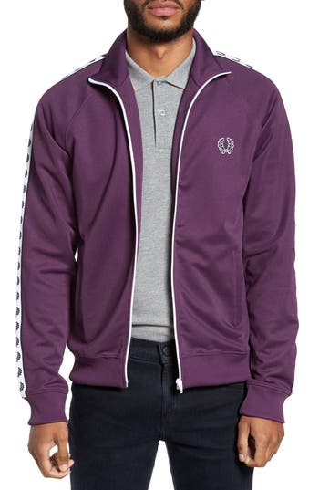 Men's Fred Perry Laurel Tape Track Jacket, Size Small - Black