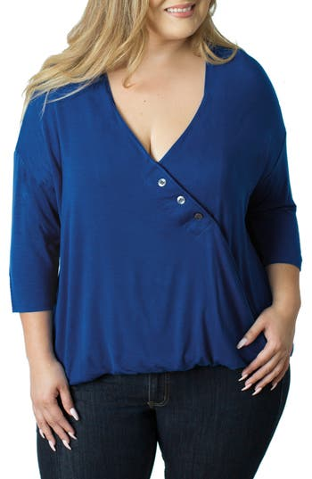 Plus Size Women's Udderly Hot Mama Button V-Neck Nursing Top
