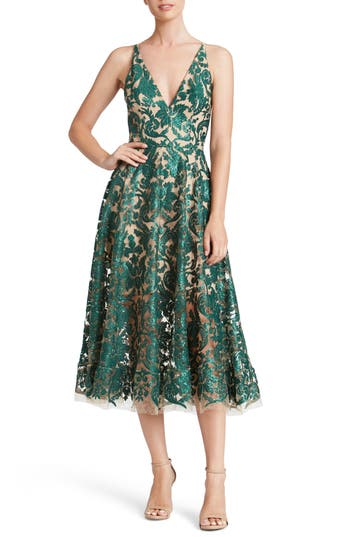 1950s Prom Dresses & Party Dresses Womens Dress The Population Blair Embellished Fit  Flare Dress Size X-Large - Green $269.00 AT vintagedancer.com