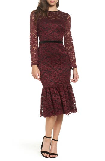 1960s Style Formal Dresses Womens Maggy London Lace Midi Dress $168.00 AT vintagedancer.com