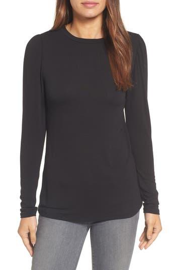 Women's Bobeau Bishop Knit Top, Size X-Small - Black