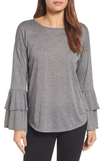 Women's Bobeau Double Ruffle Sleeve Top, Size X-Small - Black