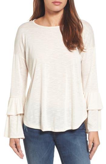 Women's Bobeau Double Ruffle Sleeve Top, Size X-Small - Beige