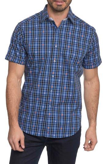 Men's Big & Tall Robert Graham Campfire Classic Fit Embroidered Check Sport Shirt