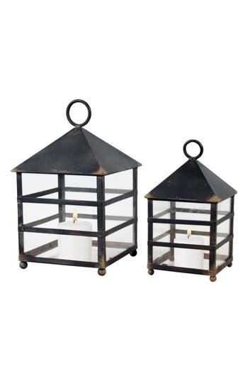 Foreside Naturalist Set Of 2 Lanterns, Size One Size - Black