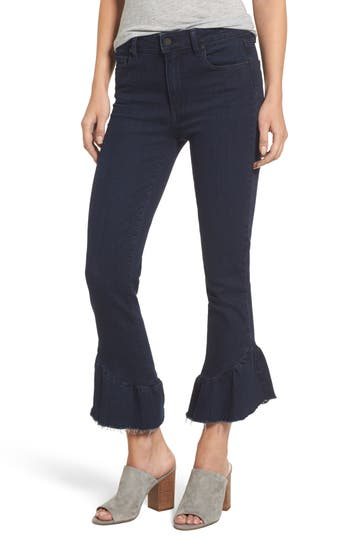 Women's Paige Flora Ruffle Hem Crop Straight Leg Jeans