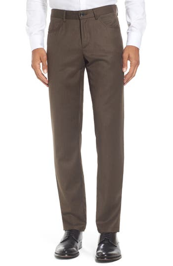 Men's Monte Rosso Flat Front Solid Stretch Wool Trousers