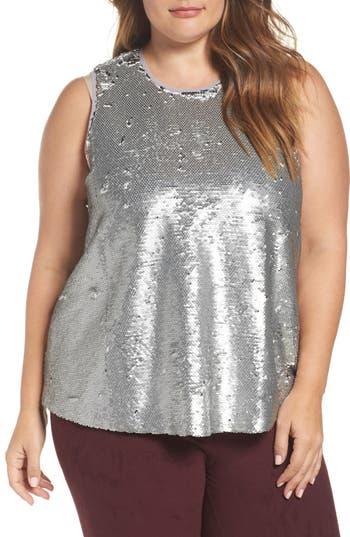 Plus Size Women's Rachel Rachel Roy Sequin Top, Size 0X - Metallic