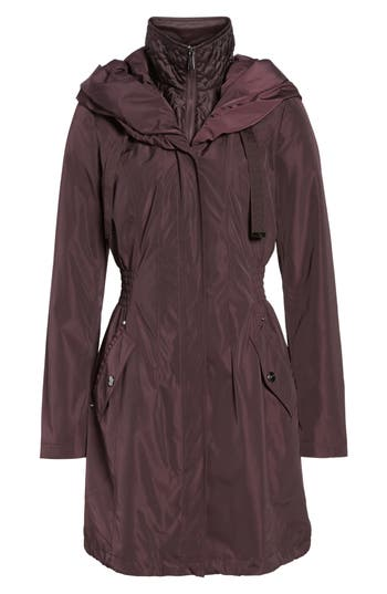 Women's Laundry By Shelli Segal Pillow Collar Raincoat With Detachable Quilted Hooded Bib Insert, Size Small - Purple