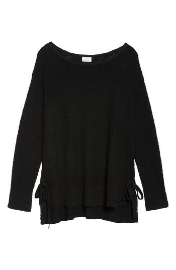 Plus Size Women's Caslon Tunic Sweater With Side Ties, Size 0X - Black