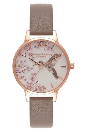 Women's Olivia Burton Hummingbird Floral Leather Strap Watch, 30Mm
