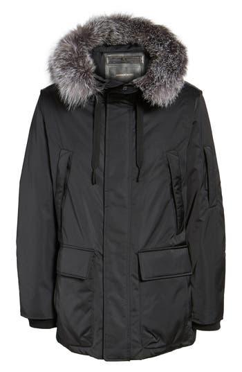 Andrew Marc Shell Jacket With Genuine Fox Fur Trim, Black