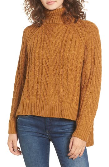 Women's Dreamers By Debut Cable Knit Turtleneck Sweater, Size X-Small - Brown