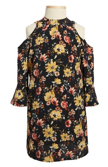Girl's Zoe And Rose Floral Print Cold Shoulder Dress