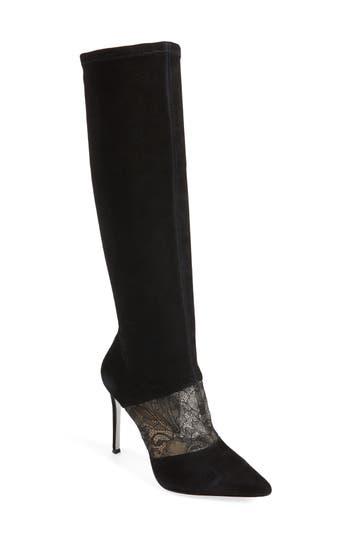 POUR LA VICTOIRE Women'S Ceri Suede & Lace Tall Boots in Black Suede