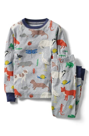 Boy's Mini Boden Cosy Long Johns Fitted Two-Piece Pajamas