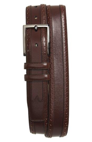 Mezlan Leather Belt, Dark Brown