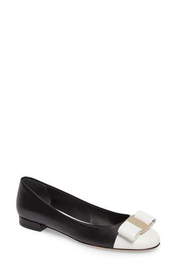 Women's Salvatore Ferragamo Varina Bow Flat, Size 7 C - Black