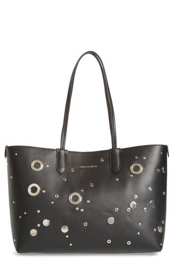 Studded Small Leather Shopper - Black