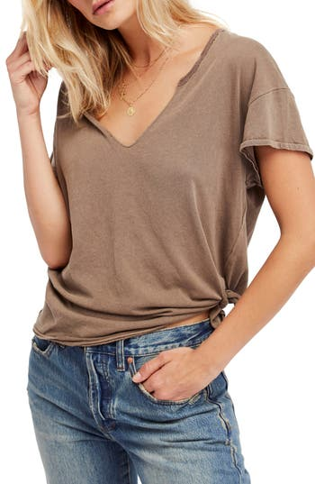 Free People Lilly Side Tie Tee, Brown
