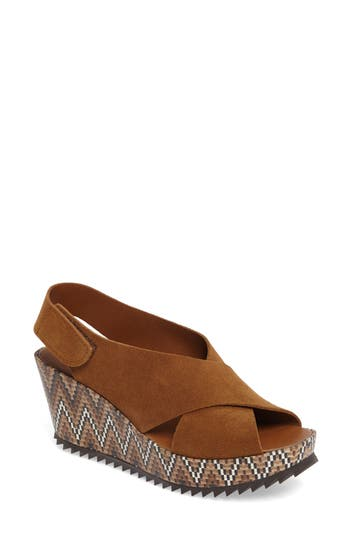 Women's Pedro Garcia 'Federica' Wedge Sandal, Size 5US / 35EU - Brown