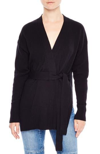 Women's Sandro Elina Wool & Cashmere Wrap Cardigan, Size 1 - Black
