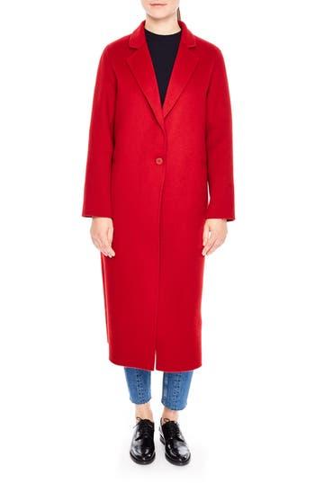 Women's Sandro Long Wool Coat, Size 36 - Red
