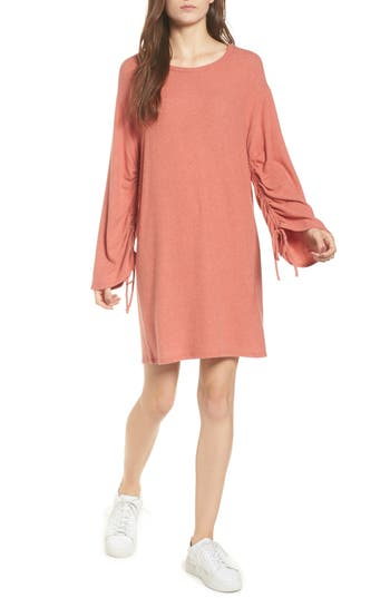 One Clothing Ruched Sleeve Sweater Dress, Red