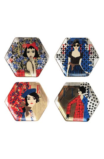 American Atelier Elle Set Of 4 Fashion Week Ceramic Plates, Size One Size - Blue