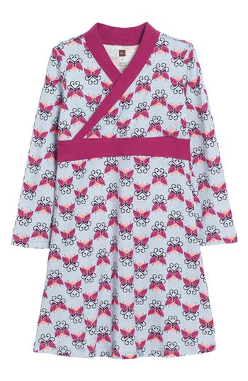 Girl's Tea Collection Beitiris Print Wrap Neck Dress