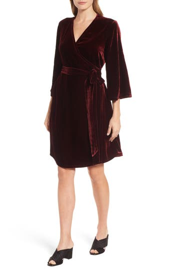 Women's Eileen Fisher Velvet Wrap Dress, Size XX-Small - Burgundy
