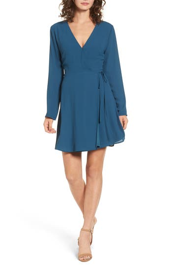 Women's Lush Elly Wrap Dress, Size X-Small - Blue