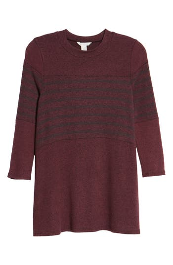 Petite Women's Caslon Stripe Panel Sweater, Size X-Large P - Burgundy