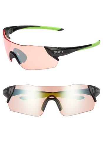 Women's Smith Attack 125Mm Chromapop™ Polarized Shield Sunglasses - Matte Black Reactor/ Green