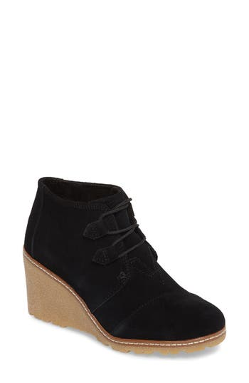 Toms Desert Wedge Bootie, Black