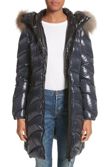 Women's Moncler Albizia Down Puffer Coat With Genuine Fox Fur Trim, Size 1 - Blue