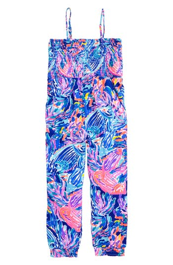 Girl's Lilly Pulitzer Jemma Print Jumpsuit, Size S (4-5) - Blue